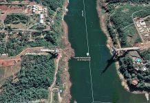Imagen satelital de Google Maps de la zona de obras del Puente de la Integración